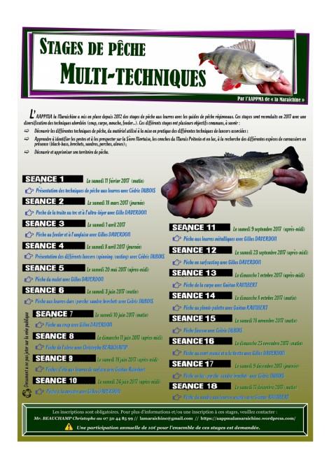 Affiche la Maraîchine stages pêche 2017